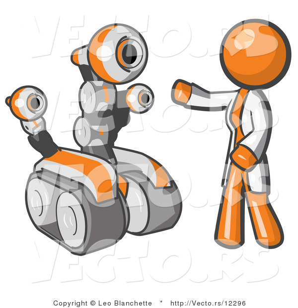 Vector of Orange Guy Inventor with a Rover Robot