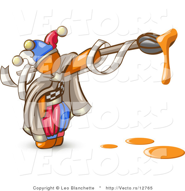 Vector of Orange Guy Jester with a Dripping Paintbrush