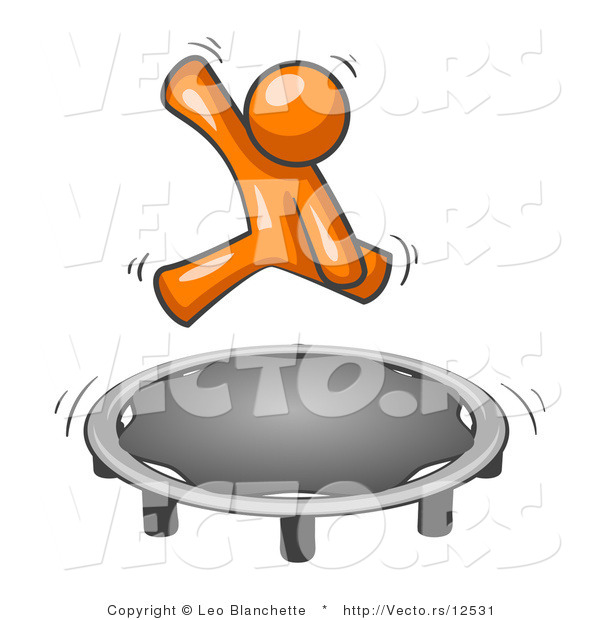 Vector of Orange Guy Jumping on a Trampoline