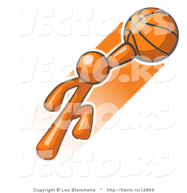 Vector of Orange Guy Jumping with Basketball