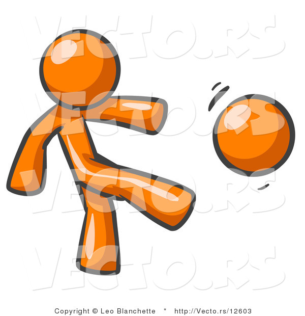 Vector of Orange Guy Kicking a Ball While Playing a Game