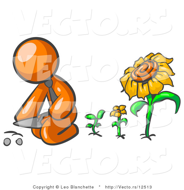 Vector of Orange Guy Kneeling by Growing Sunflowers to Plant Seeds in a Dirt Hole in a Garden