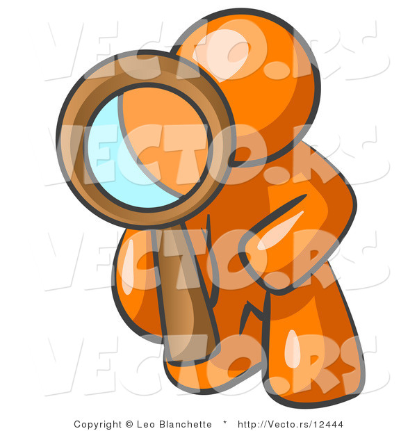 Vector of Orange Guy Kneeling on One Knee to Look Closer at Something While Inspecting or Investigating