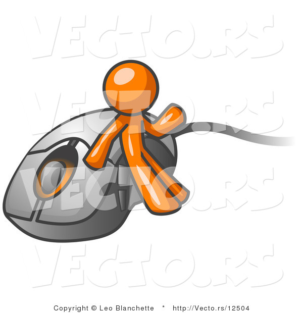 Vector of Orange Guy Leaning Against a Computer Mouse