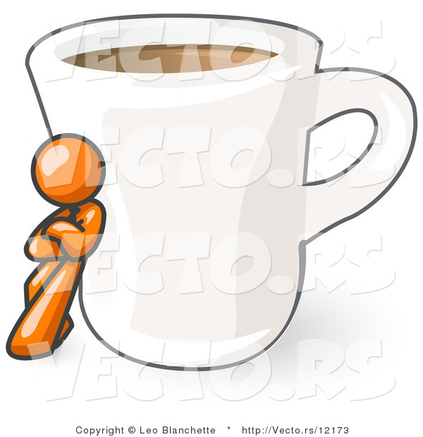 Vector of Orange Guy Leaning Against a Giant White Cup of Coffee