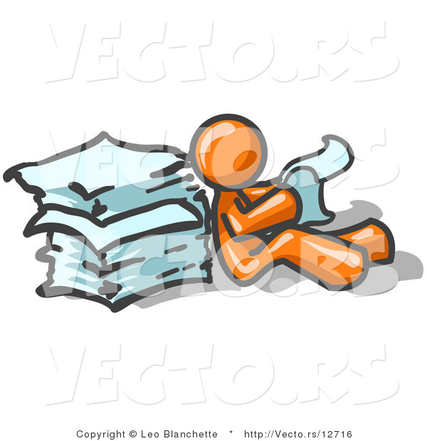 Vector of Orange Guy Leaning Against a Stack of Papers