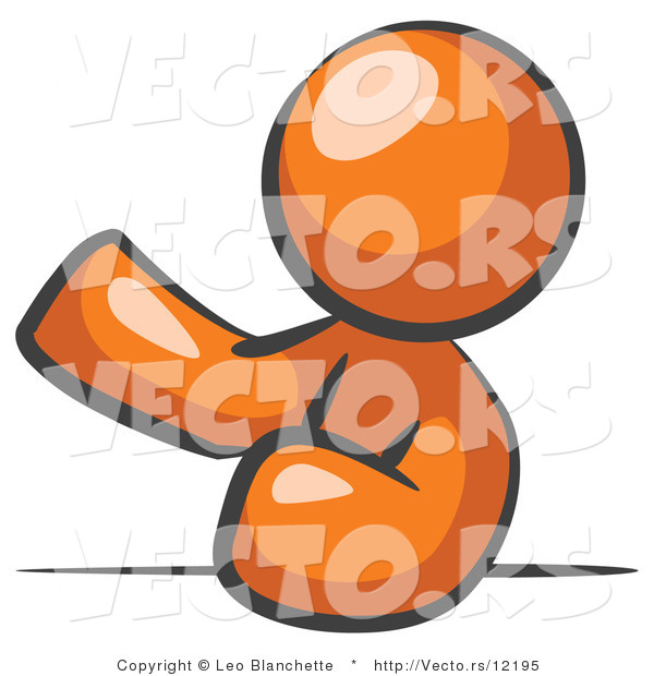 Vector of Orange Guy Leaning an Elbow on a Table and Gesturing with One Hand During a Meeting