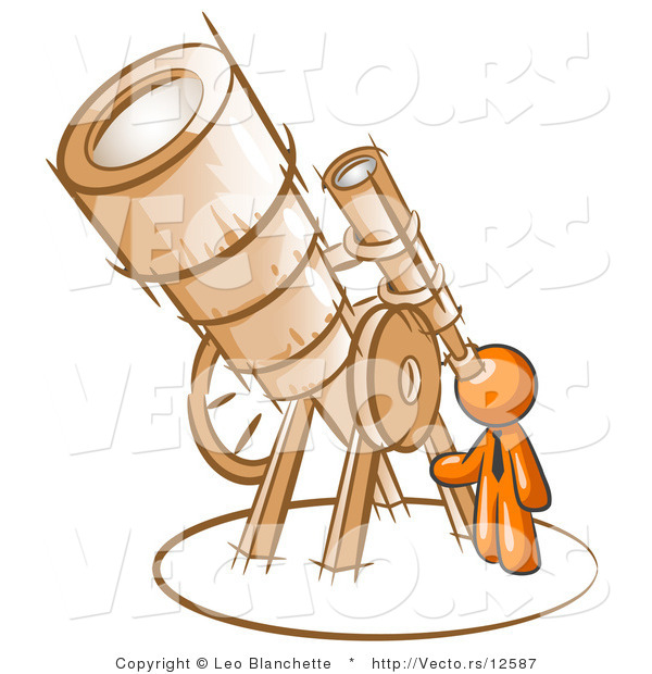 Vector of Orange Guy Looking Through a Big Telescope