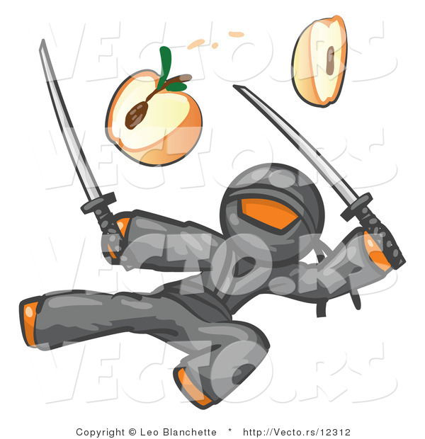 Vector of Orange Guy Ninja Jumping and Slicing an Apple with Swords