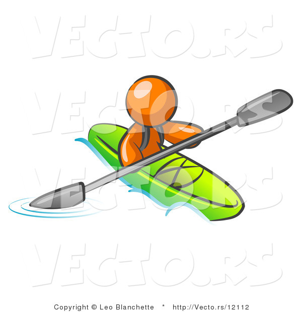 Vector of Orange Guy Paddling down a River in a Green Kayak