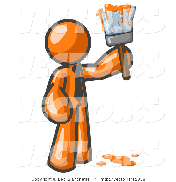 Vector of Orange Guy Painter Holding a Dripping Paint Brush