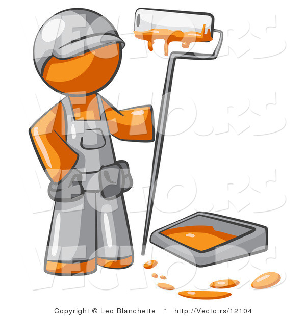 Vector of Orange Guy Painter with a Paint Pan and Roller