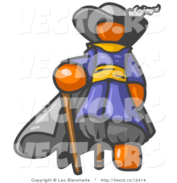 Vector of Orange Guy Pirate with a Cane and a Peg Leg