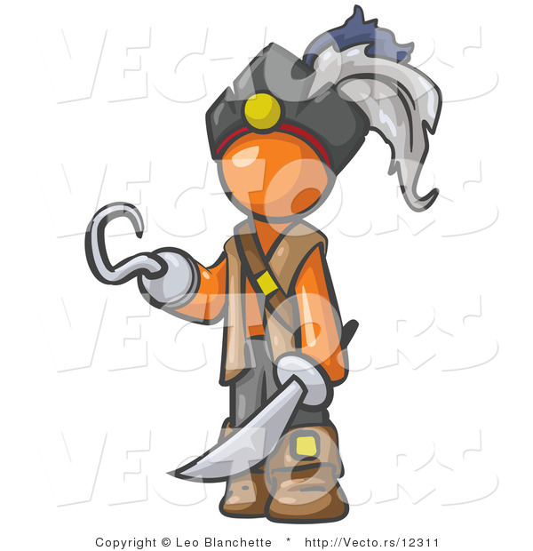 Vector of Orange Guy Pirate with a Hook Hand and a Sword
