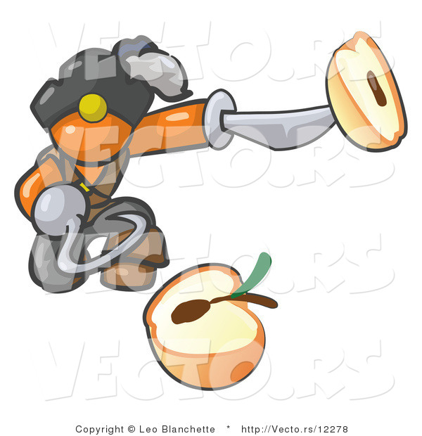 Vector of Orange Guy Pirate with a Hook Hand, Holding a Sliced Apple on a Sword