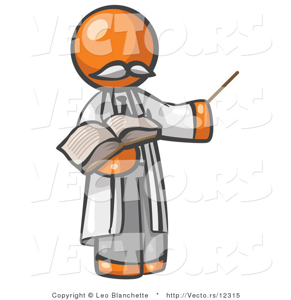 Vector of Orange Guy Professor Holding a Pointer Stick and an Open Book