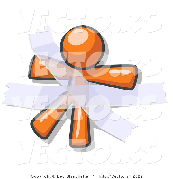 Vector of Orange Guy Restrained with Tape