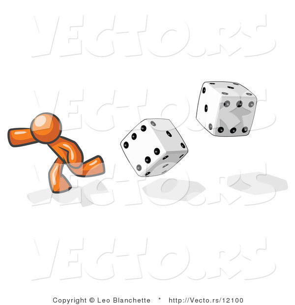 Vector of Orange Guy Running from Dice