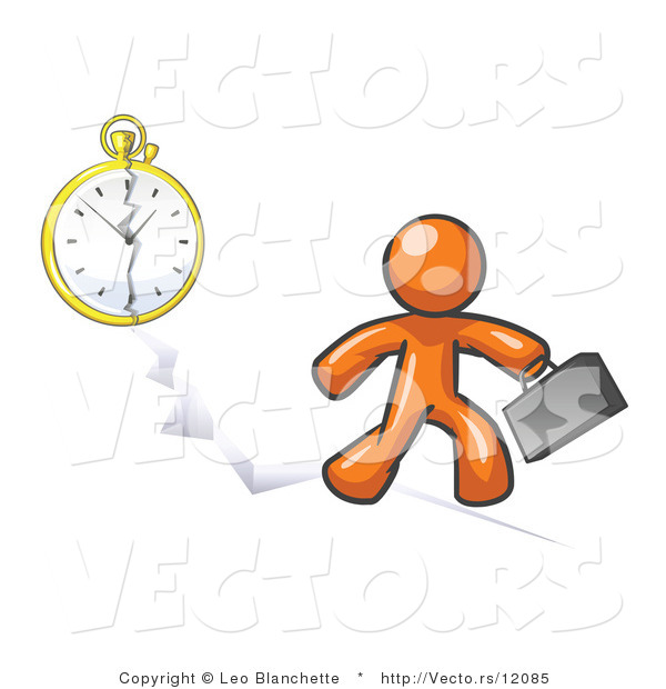 Vector of Orange Guy Running Late for Work over a Crack with a Clock