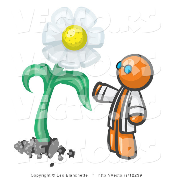 Vector of Orange Guy Scientist Admiring a Giant White Daisy Flower