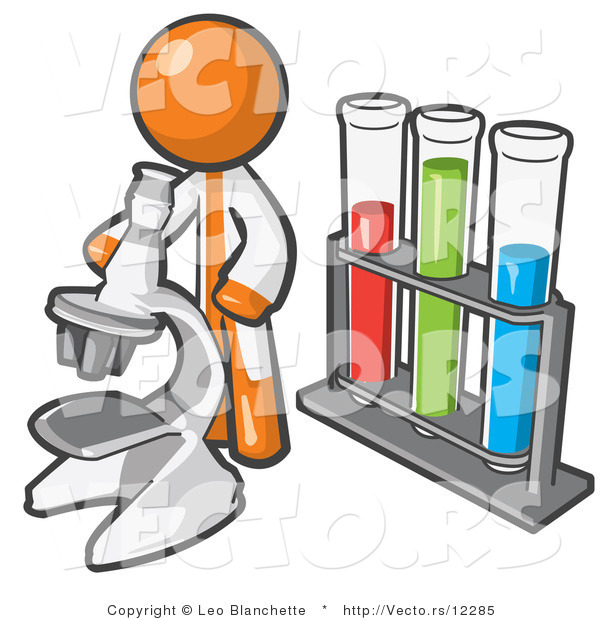 Vector of Orange Guy Scientist Using a Microscope by Vials