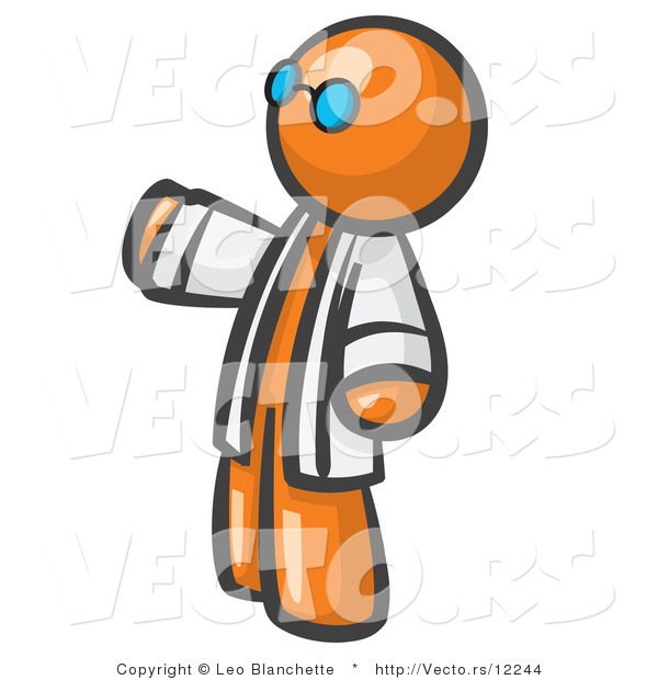 Vector of Orange Guy Scientist Wearing Blue Glasses and a Lab Coat