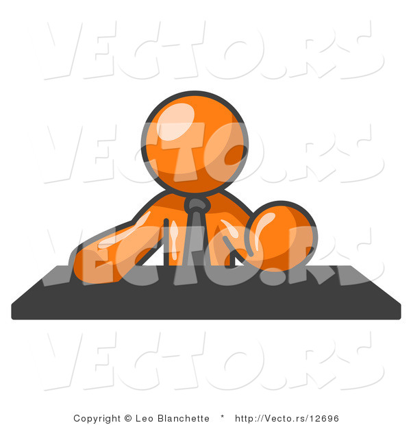 Vector of Orange Guy Seated at a Desk During a Meeting