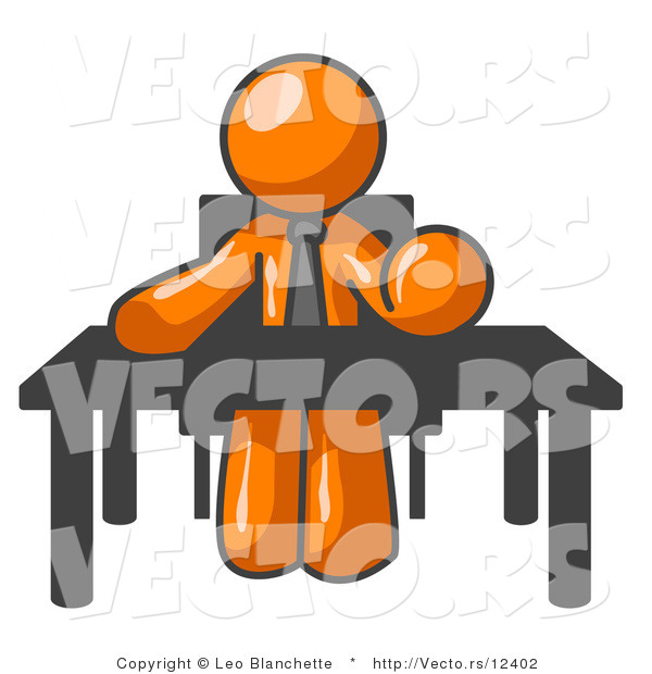Vector of Orange Guy Seated at a Desk, Instructing Employees