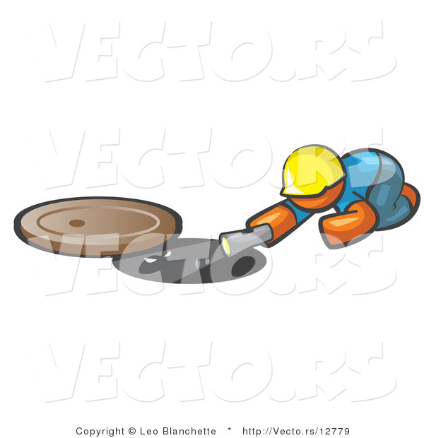 Vector of Orange Guy Sewer Worker Shining a Flashlight down a Man Hole