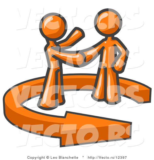 Vector of Orange Guy Shaking Hands with a Client While Making a Deal