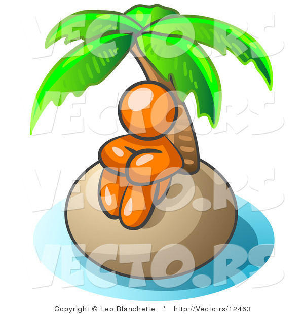 Vector of Orange Guy Sitting All Alone with a Palm Tree on a Deserted Island