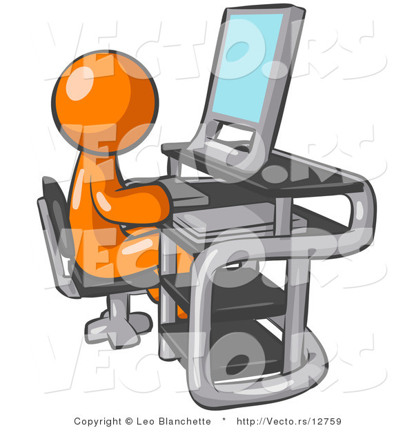 Vector of Orange Guy Sitting at a Desk in Front of a Computer with a Scanner at His Side