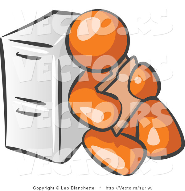 Vector of Orange Guy Sitting by a Filing Cabinet and Holding a Folder