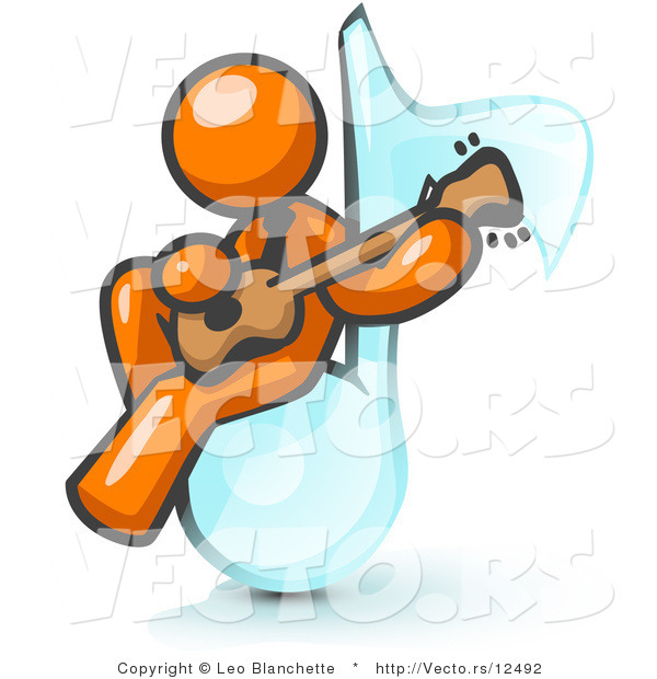 Vector of Orange Guy Sitting on a Music Note and Playing a Guitar