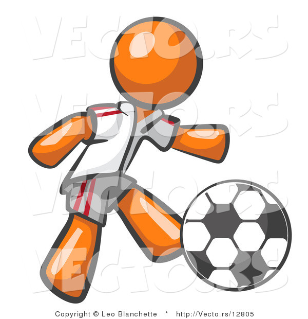 Vector of Orange Guy Soccer Player