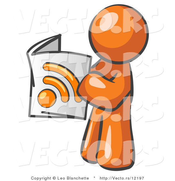 Vector of Orange Guy Standing and Reading an RSS Magazine
