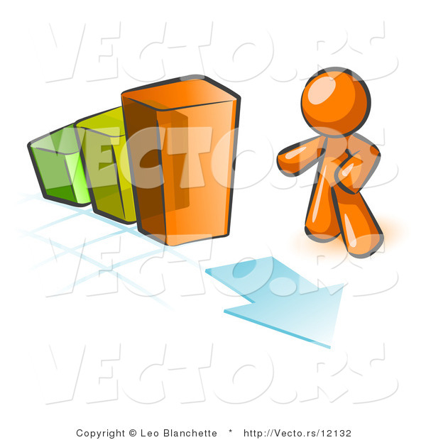 Vector of Orange Guy Standing by an Increasing Green, Yellow and Orange Bar Graph on a Grid Background with an Arrow