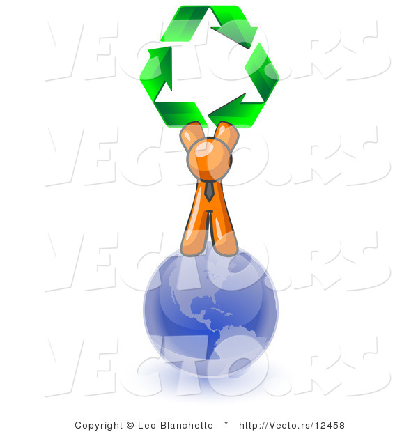 Vector of Orange Guy Standing on Top of the Blue Planet Earth and Holding up Three Green Arrows Forming a Triangle and Moving in a Clockwise Motion, Symbolizing Renewable Energy and Recycling