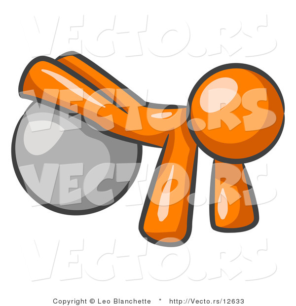 Vector of Orange Guy Strength Training His Arms and Legs While Using a Yoga Exercise Ball