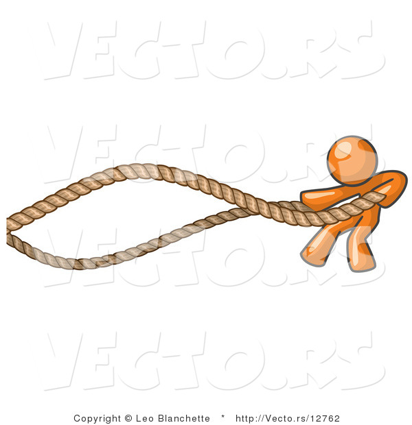 Vector of Orange Guy Struggling with Ropes
