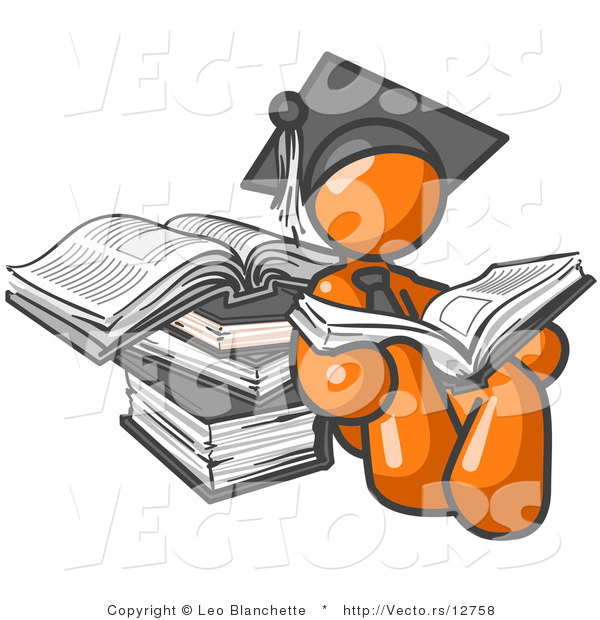 Vector of Orange Guy Student in a Graduation Cap, Reading a Book and Leaning Against a Stack of Books
