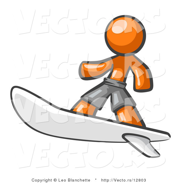 Vector of Orange Guy Surfer