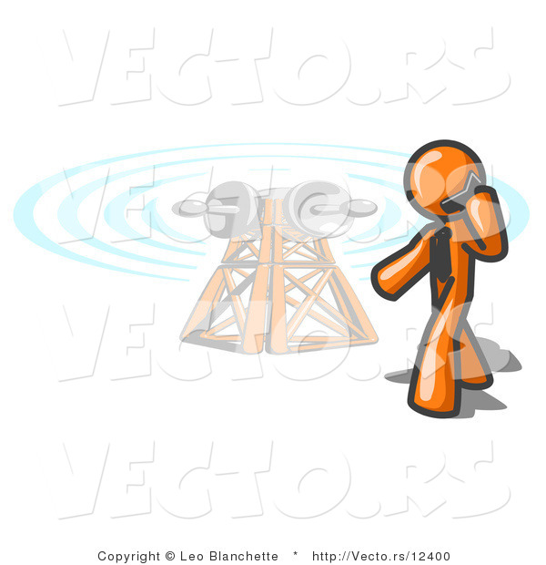 Vector of Orange Guy Talking on a Cell Phone, a Communications Tower in the Background