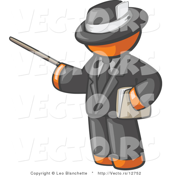 Vector of Orange Guy Teacher Using a Pointer in a Black Business Suit