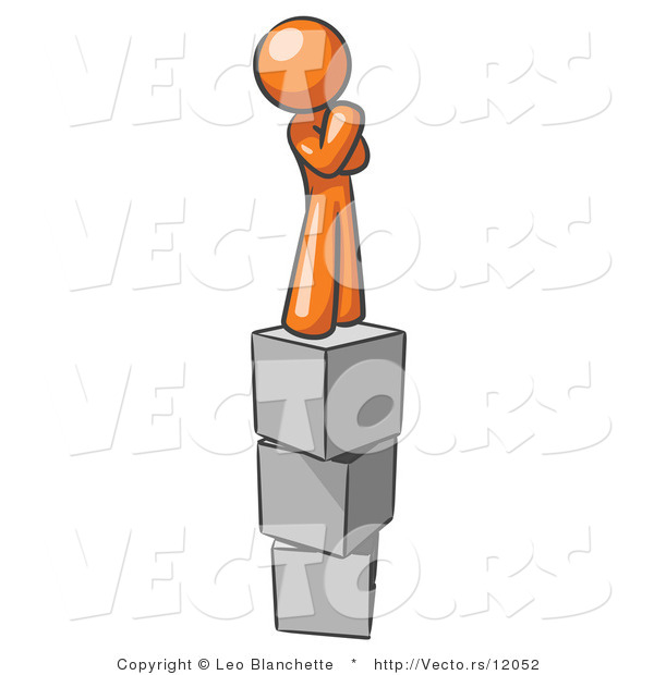 Vector of Orange Guy Thinking and Standing on Blocks