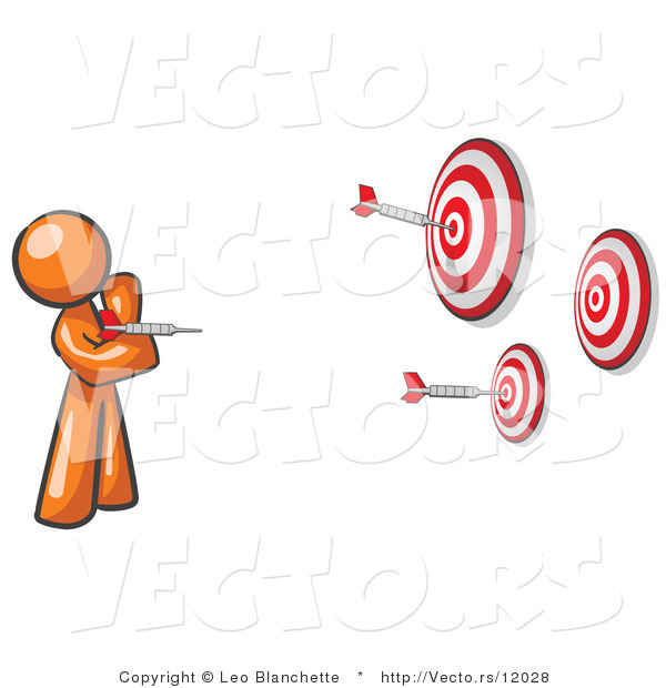 Vector of Orange Guy Throwing Darts at Targets