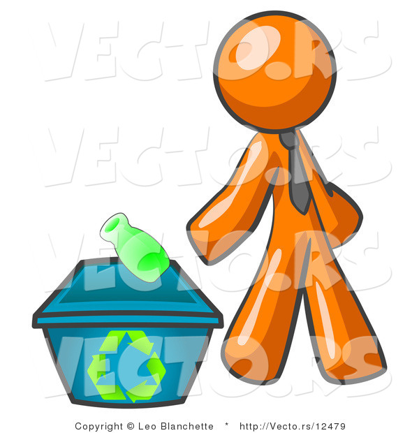 Vector of Orange Guy Tossing a Plastic Container into a Recycle Bin, Symbolizing Someone Doing Their Part to Help the Environment and to Be Earth Friendly