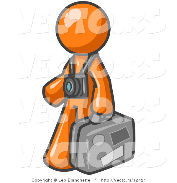 Vector of Orange Guy Tourist Carrying His Suitcase with Camera