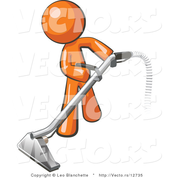 Vector Of Orange Guy Using A Carpet Cleaner Wand By Leo