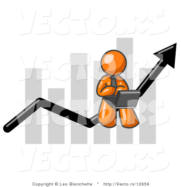 Vector of Orange Guy Using a Laptop Computer, Riding the Increasing Arrow Line on a Business Chart Graph